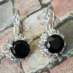 Jewelry - Black Crystal Lever Back Earrings